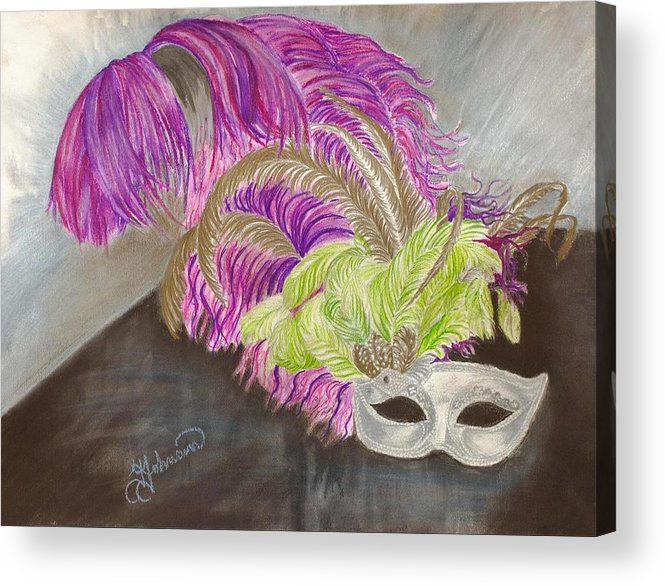 Mardi Gras Acrylic Print featuring the drawing Mask by Yolanda Raker