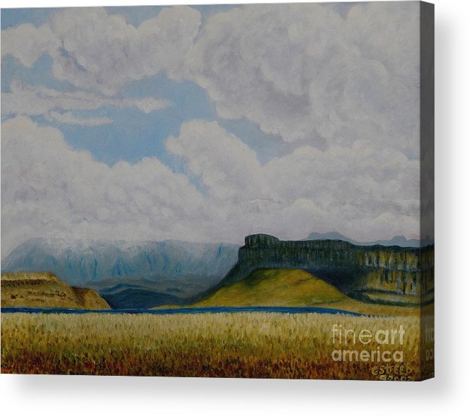 Mountains Acrylic Print featuring the painting Misty Mountain by Caroline Street