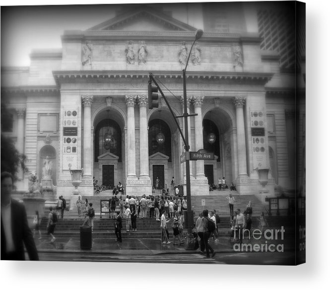 After The Rain Acrylic Print featuring the photograph New York Public Library - After The Rain by Miriam Danar