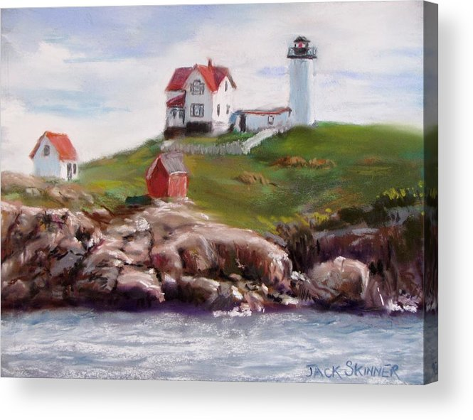 Lighthouse Acrylic Print featuring the painting Nubble Lighthouse In Pastel by Jack Skinner