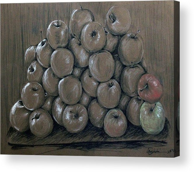 Apples Acrylic Print featuring the drawing Oblivion by Nimi Izulu