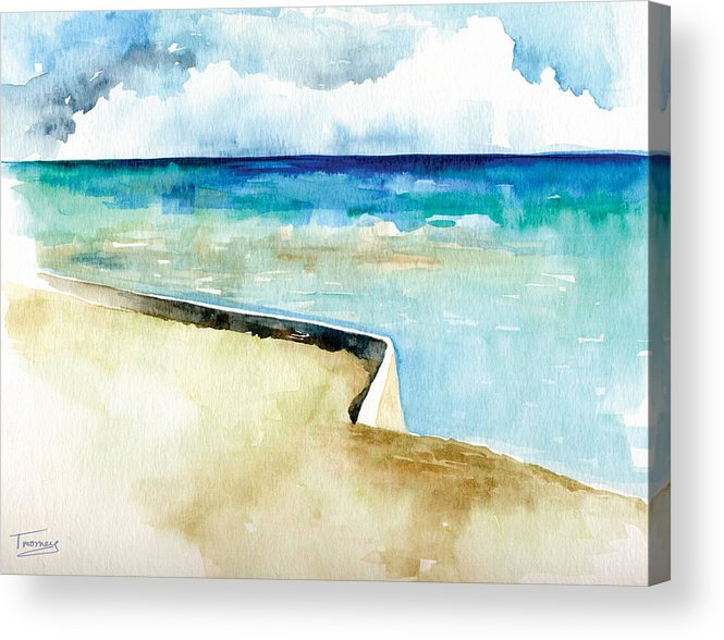 Turquoise Acrylic Print featuring the painting Ocean Pier In Key West Florida by Catherine Twomey