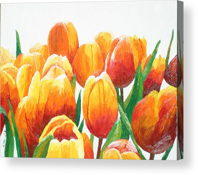Tulips Acrylic Print featuring the painting Orange Tulips by Chris Torre