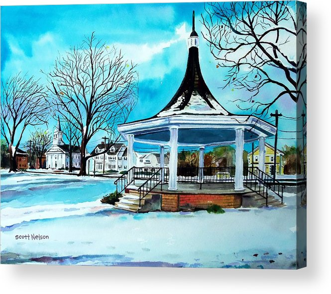 Oxford. Oxford Ma. Massachusetts Acrylic Print featuring the painting Oxford Bandstand by Scott Nelson