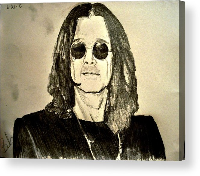 Ozzy Osbourne Acrylic Print featuring the drawing Ozzy Plain And Simple by Ruben Barbosa