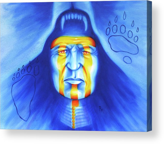 Native American Art Acrylic Print featuring the painting Painted Bear by Robert Martinez