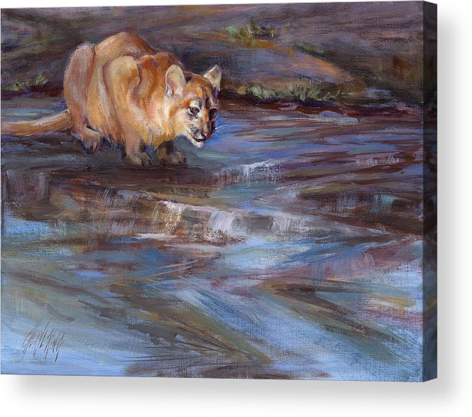 Cougar Acrylic Print featuring the painting Pause by Cheryl King