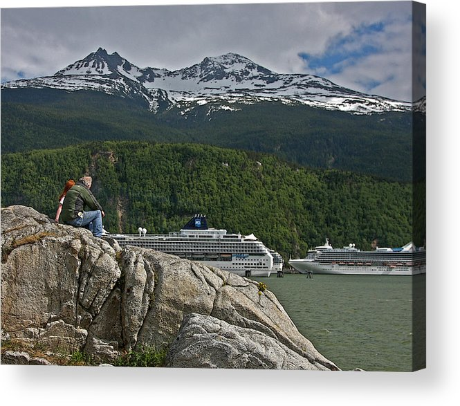 Cruise Acrylic Print featuring the photograph Pause In Wonder At Cruise Ships In Alaska by John Haldane
