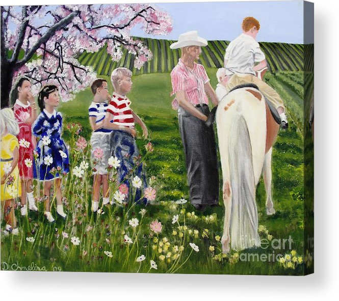 Pasture Acrylic Print featuring the painting Ponyride by Debra Chmelina