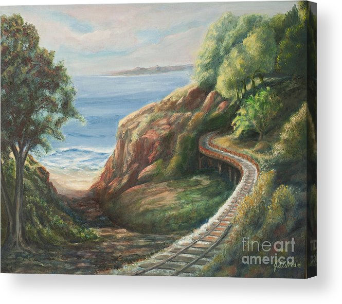 Railroad Track Acrylic Print featuring the painting Railroad Track By The Beach by Jeanne Wrede