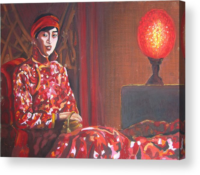 Chinese Acrylic Print featuring the pastel Raise The Red Lantern by Karen Coggeshall