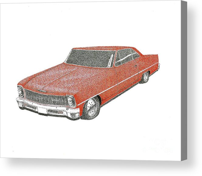 #classic Car Acrylic Print featuring the drawing Red Desire by Kip Vidrine