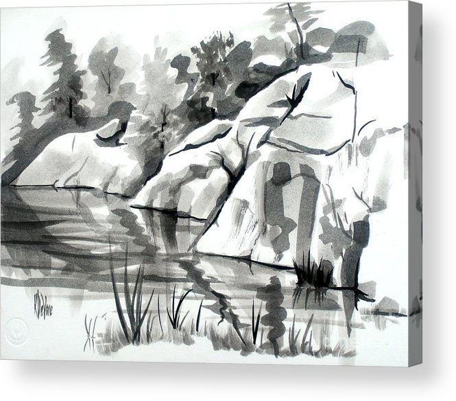Reflections At Elephant Rocks State Park No I102 Acrylic Print featuring the painting Reflections At Elephant Rocks State Park No I102 by Kip DeVore