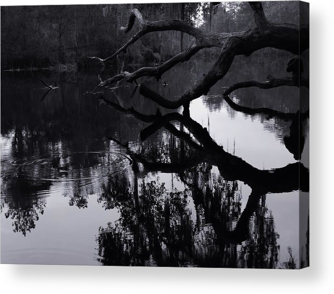 Ripples Of Black And White Acrylic Print featuring the photograph Ripples Of Black And White by Warren Thompson