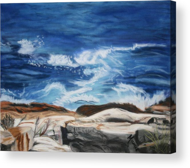 Ocean Acrylic Print featuring the pastel Rocks Above The Sea by Michele Turney