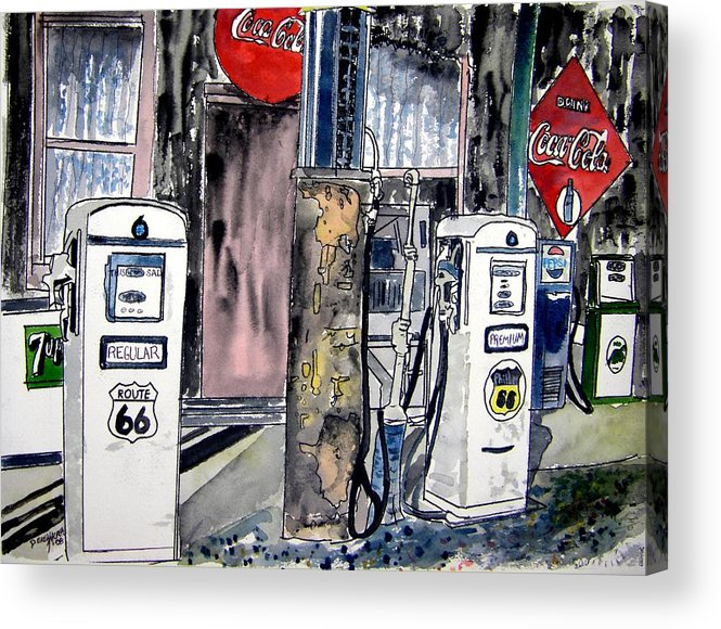 Watercolor Acrylic Print featuring the painting Route 66 Gas Station by Derek Mccrea