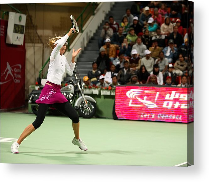 Maria Acrylic Print featuring the photograph Sharapova At Qatar Open by Paul Cowan