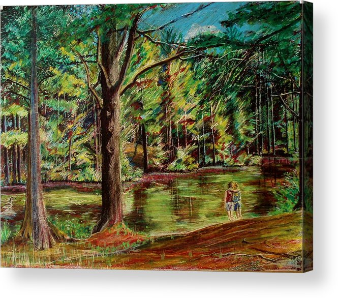 New Hampshire Acrylic Print featuring the pastel Sisters At Wason Pond by Sean Connolly