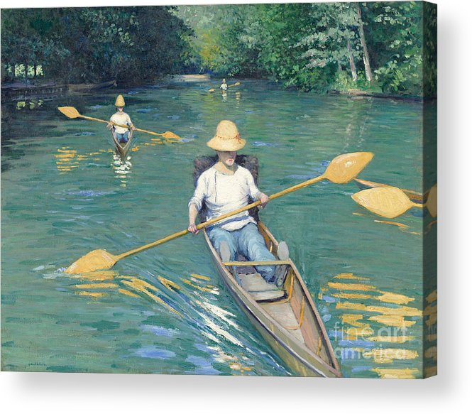 Impressionist; Rowing; Boat; River; Male; Leisure; Summer; Sport; Water; Reflection; Hat Acrylic Print featuring the painting Skiffs by Gustave Caillebotte