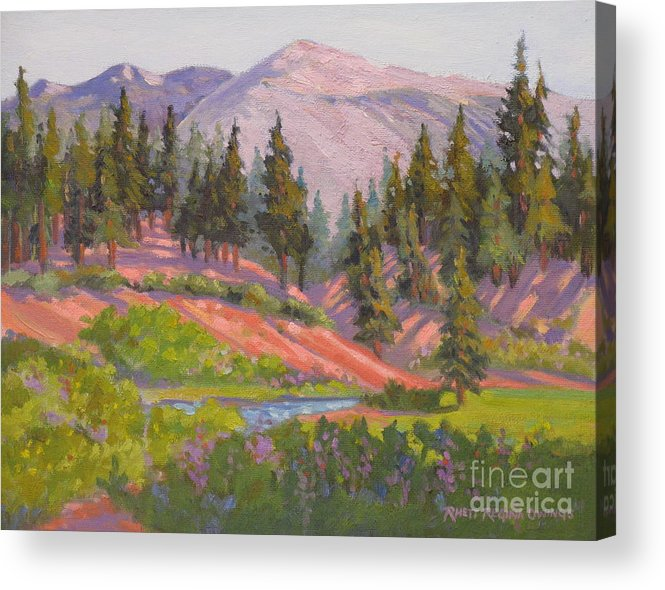 Sierras Acrylic Print featuring the painting Sonora Pass Meadow by Rhett Regina Owings