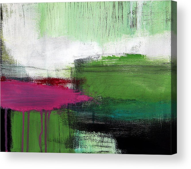Green Abstract Painting Acrylic Print featuring the painting Spring Became Summer- Abstract Painting by Linda Woods