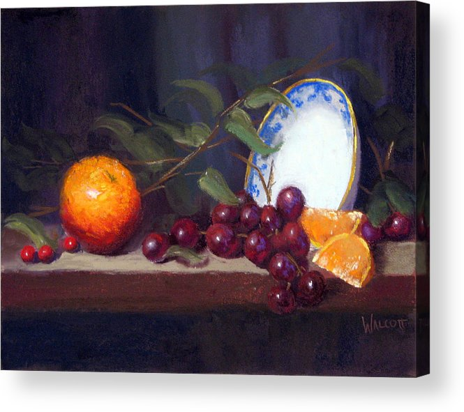 Still Life Acrylic Print featuring the painting Still Life With Orange And Grapes by Jason Walcott