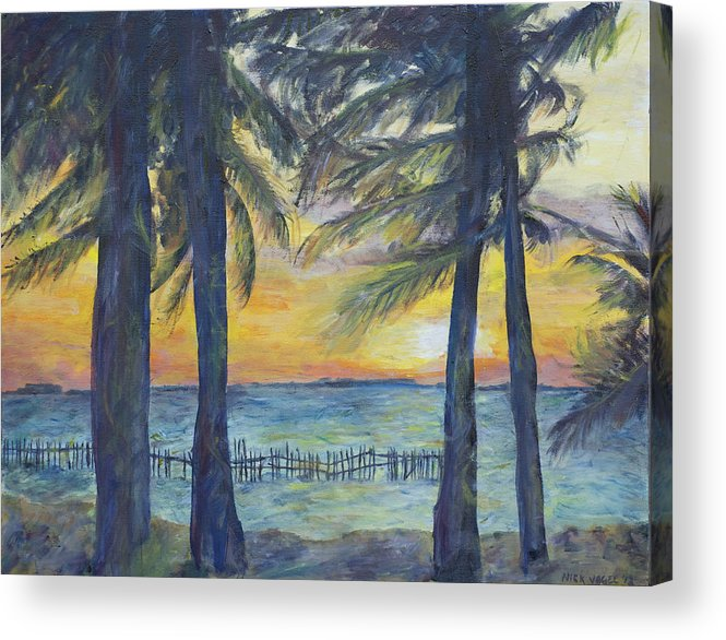 Palm Acrylic Print featuring the painting Sunset At Buho's by Nick Vogel