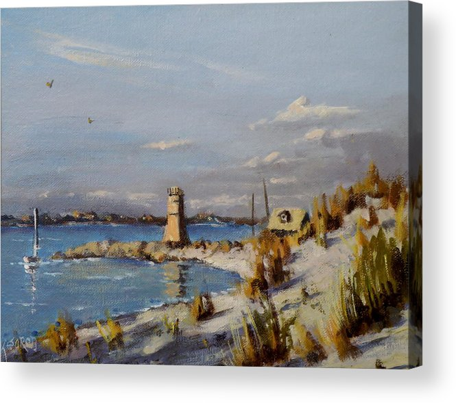 Seascape Acrylic Print featuring the painting The Old Lighthouse At Rockaway Point by Thomas Kearon