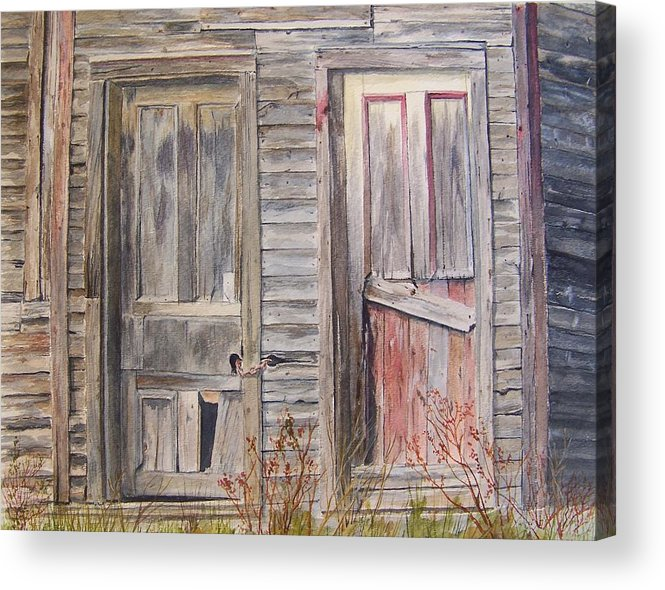 Doors Acrylic Print featuring the painting Twin Doors by Jackie Mueller-Jones