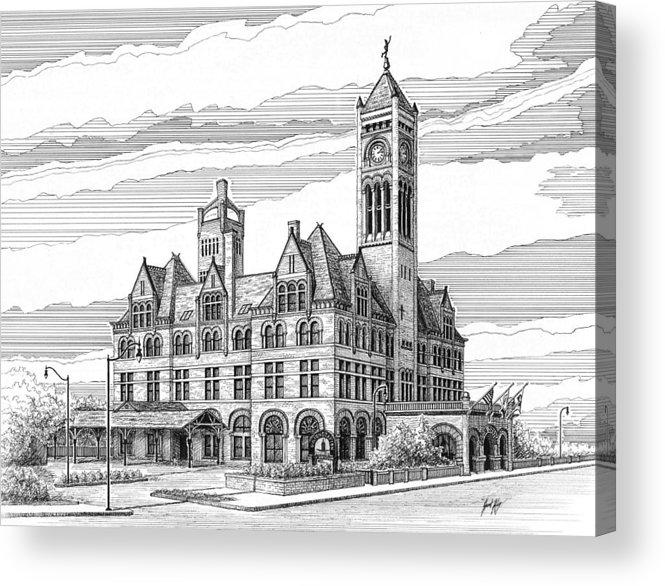 Union Station In Nashville Acrylic Print featuring the drawing Union Station In Nashville Tn by Janet King