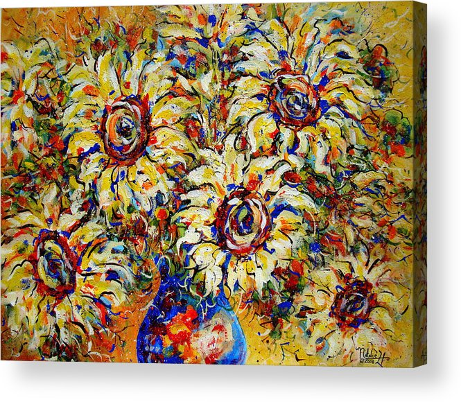 Flowers Acrylic Print featuring the painting Vibrant Sunflower Essence by Natalie Holland