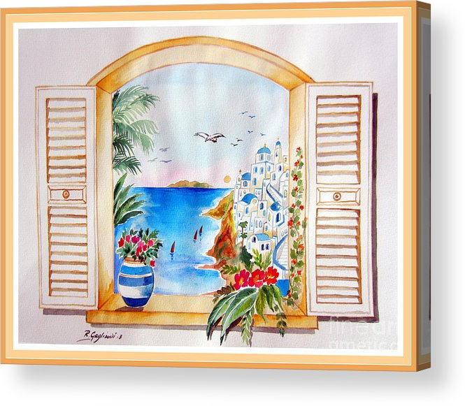Santorini Acrylic Print featuring the painting Window On Santorini by Roberto Gagliardi