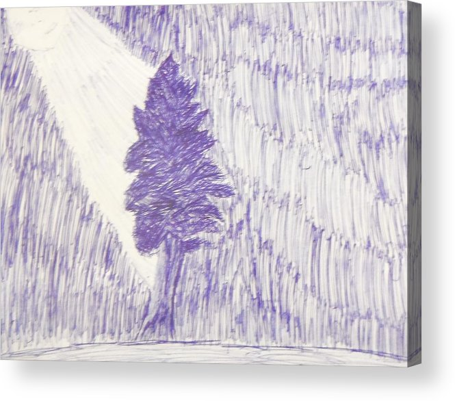Blue Acrylic Print featuring the drawing Tree In Moonlight by Kristin Davis