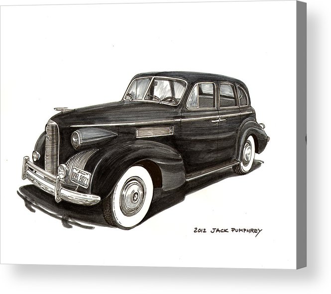 Thank You For Buying A 14.000 X 10.875 Print Of 1939 Lasalle Sedan Classic To A Buyer From Shoreham Acrylic Print featuring the painting 1939 Lasalle Sedan Classic by Jack Pumphrey