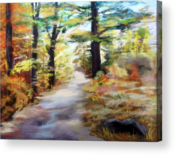 Landscape Acrylic Print featuring the painting Autumn Walk In The Woods by Trudy Morris