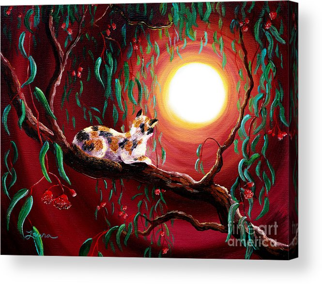 Calico Acrylic Print featuring the painting Calico Cat In Eucalyptus Boughs by Laura Iverson