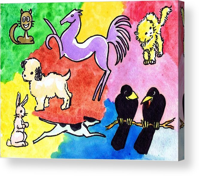 Drawings Acrylic Print featuring the drawing Critters by Mel Thompson
