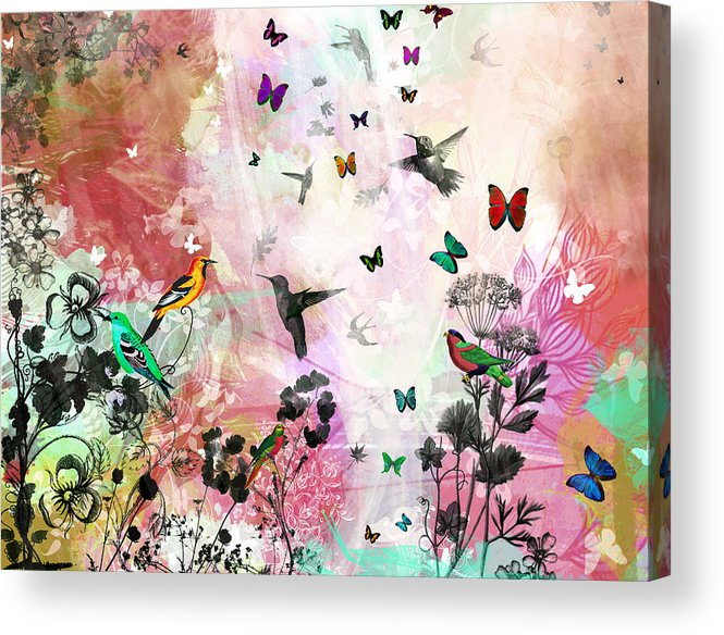 Roses Acrylic Print featuring the mixed media Enchanting Birds And Butterflies by Carly Ralph