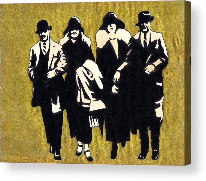 Nostalgia Acrylic Print featuring the drawing Gold Couples by Mel Thompson