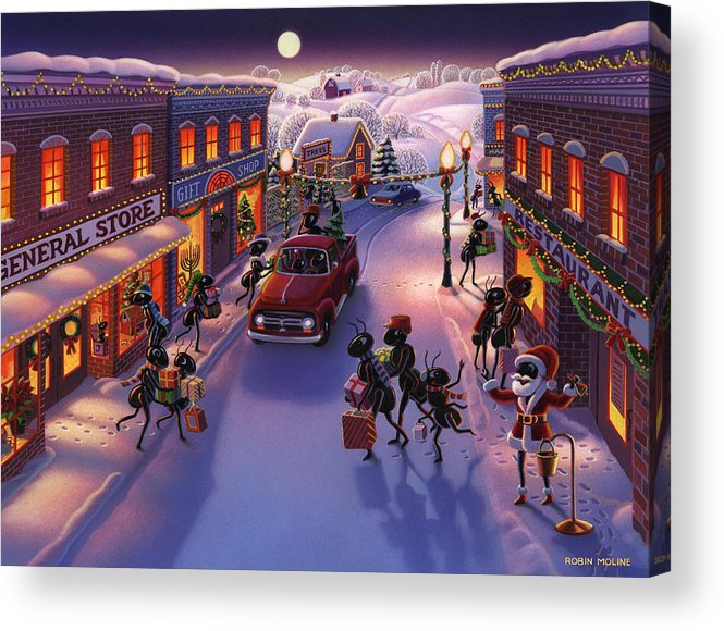 Ants Acrylic Print featuring the painting Holiday Shopper Ants by Robin Moline