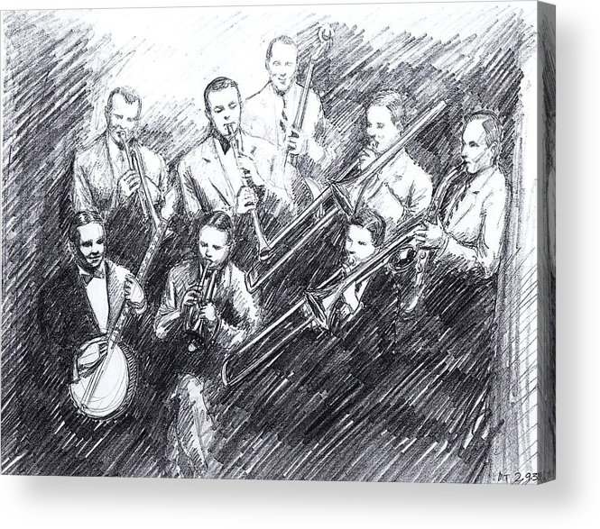 Nostalgia Acrylic Print featuring the drawing Jean Goldkette Orchestra 1926 by Mel Thompson