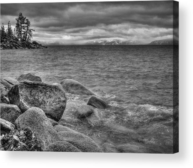Black And White Acrylic Print featuring the photograph Lake Tahoe Winter Storm by Scott McGuire