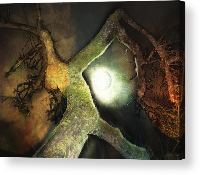 Moon Acrylic Print featuring the mixed media Moon Song by Janet Kearns