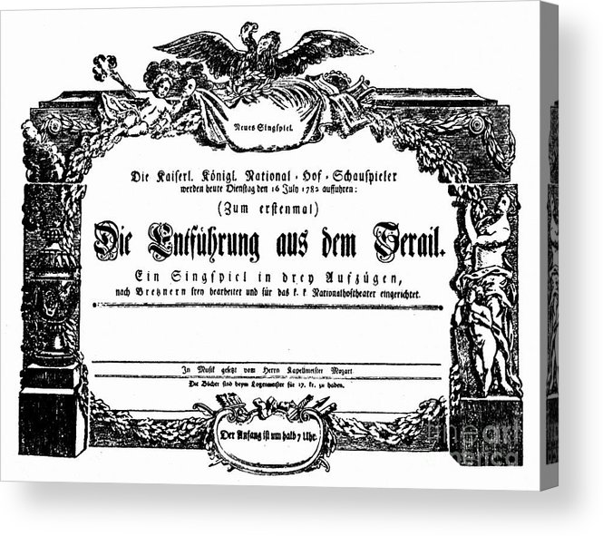 1782 Acrylic Print featuring the photograph Mozart: Seraglio, 1782 by Granger