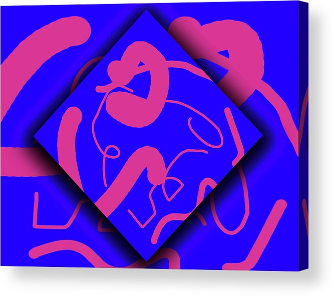 Abstract Acrylic Print featuring the digital art Neon Out Of Bounds by Carolyn Marshall