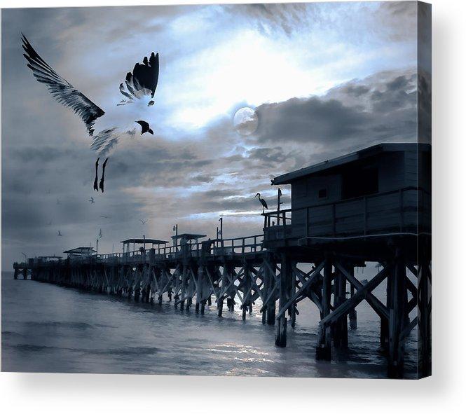 Pier Acrylic Print featuring the photograph Night Landing by Stephen Warren