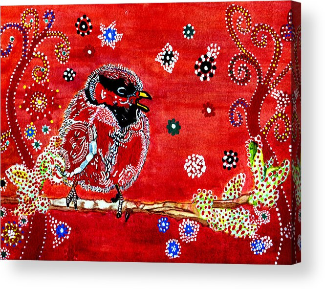 Red Picture Acrylic Print featuring the painting Red Bird On A Branch by Connie Valasco