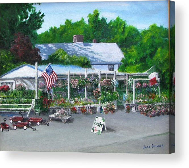 Farm Stand Acrylic Print featuring the painting Scimone's Farm Stand by Jack Skinner