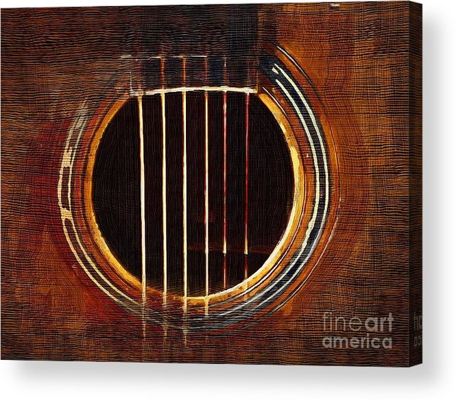 guitar sound Hole music abstract Acrylic Print featuring the digital art Sound Hole by Sanjeev Babbar