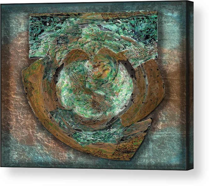 Brown Acrylic Print featuring the digital art Tarnish And Brass by David Glotfelty